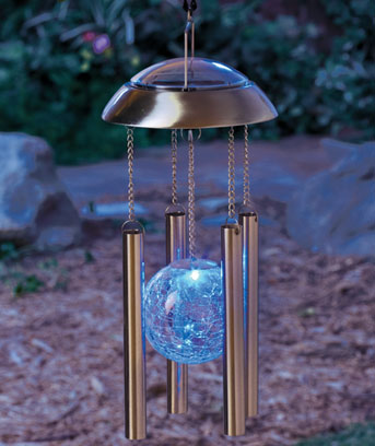 Color changing solar wind chimes