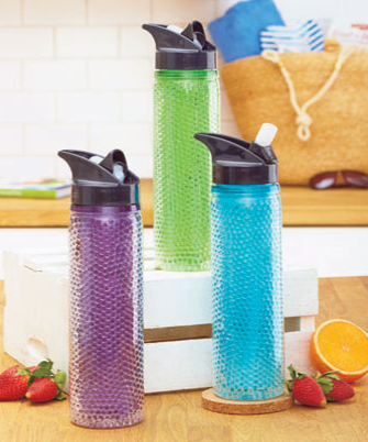 Freezable 19-Oz. Water Bottle maintains your chilled beverage at just the right temperature. Store it in the freezer so that the gel inside the wall starts out frozen. You'll be amazed at how long your water stays cold. A built-in silicone straw on the screw-on lid folds down when not in use. Plastic.
