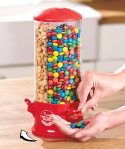 3-Way Candy Dispenser keeps your favorite snacks close and easily accessible.