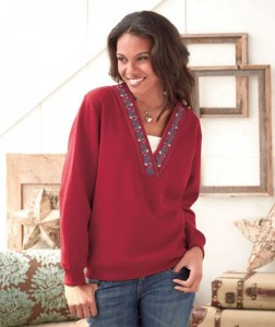 Women's Embroidered V-Neck Sweatshirt adds folksy flair to everyday wear.