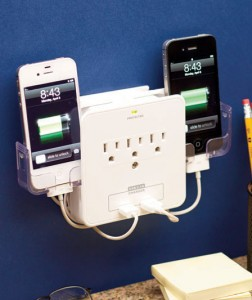 Deluxe Smartphone Charging Station keeps your phone protected and off the floor. Designed for versatility, it has 3 standard outlets, so you can keep other appliances plugged in along with your charger, or charge up to 3 additional devices at once.