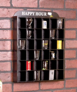 Shot Glass Display Shelf organizes your collection with ease. It holds up to 36 shot glasses for all to see.
