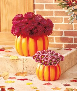 Sculpted Pumpkin Planters are handpainted to look like real pumpkins!