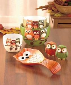 Bring the colors of fall into your kitchen with these Harvest Owl Tabletop Sets.
