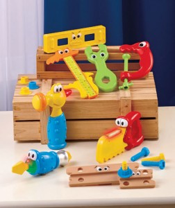 Kids will have fun pretending to construct and build with this 17-Pc. Jumbo Tools Playset.