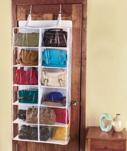 Organizing your bags in the Over-the-Door Purse Storage may help extend the life of their straps while utilizing space behind a door.
