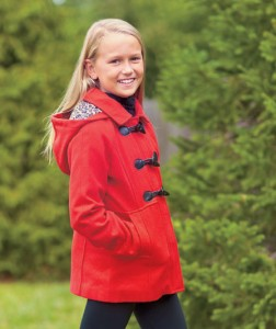 Girls' Hooded Toggle-Front Peacoat will keep her warm and looking stylish all winter long.