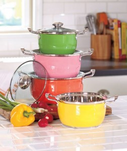Brighten up your kitchen with this Colorful 8-Pc. Cookware Set.