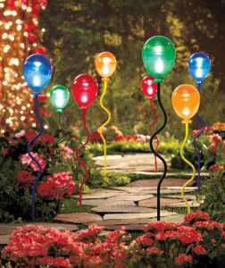 Set of 2 Solar-Lighted Balloon Stakes helps you decorate your garden with whimsical delight!
