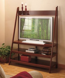 Rest your flat screen TV on a wooden Ladder TV Stand with handy storage shelves above and below.