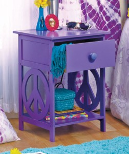 This groovy Peace Sign Night Stand will add style to any girl's or boy's room.