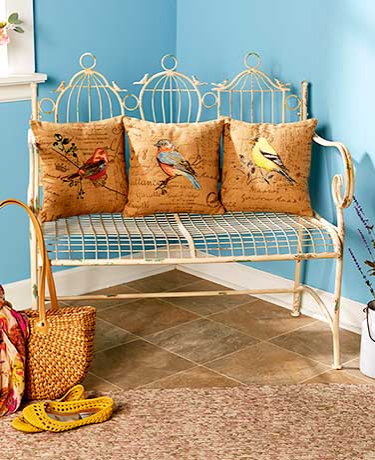Birdcage Bench or Bird Themed Pillows