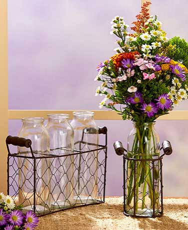 Country Bottle Vases with Wire Baskets