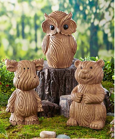 Garden Decor - Wood-Look Garden Statues