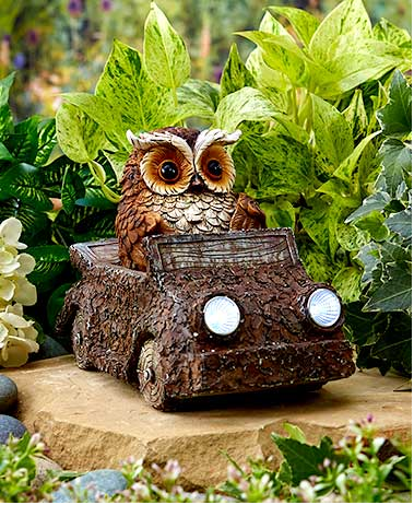 Garden Decor - Woodland Friend in Solar Car
