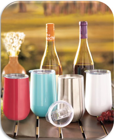 16-Ounce Stainless Steel Stemless Wine Tumblers