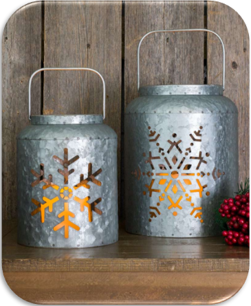 Lighted Metal Snowflake Lanterns