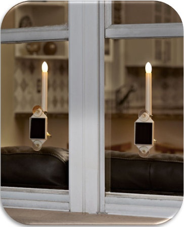 Set of 2 Solar Holiday Window Candles