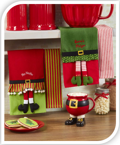 Sets of 2 Novelty Christmas Kitchen Towels