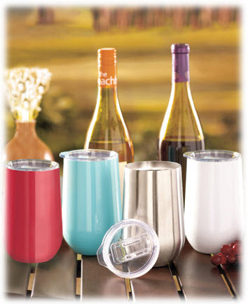 16 Ounce Stainless Steel Stemless Wine Tumblers