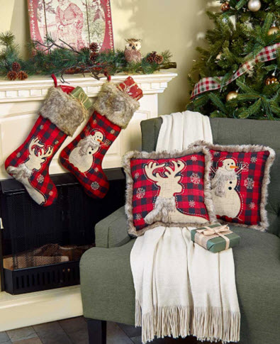 Faux Fur-Trimmed Plaid Pillows or Stockings