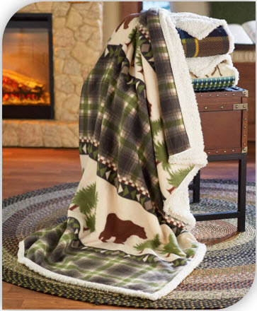 Jumbo Fleece and Sherpa Lodge Throws