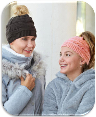 Sets of 2 Messy Bun Knit Hats