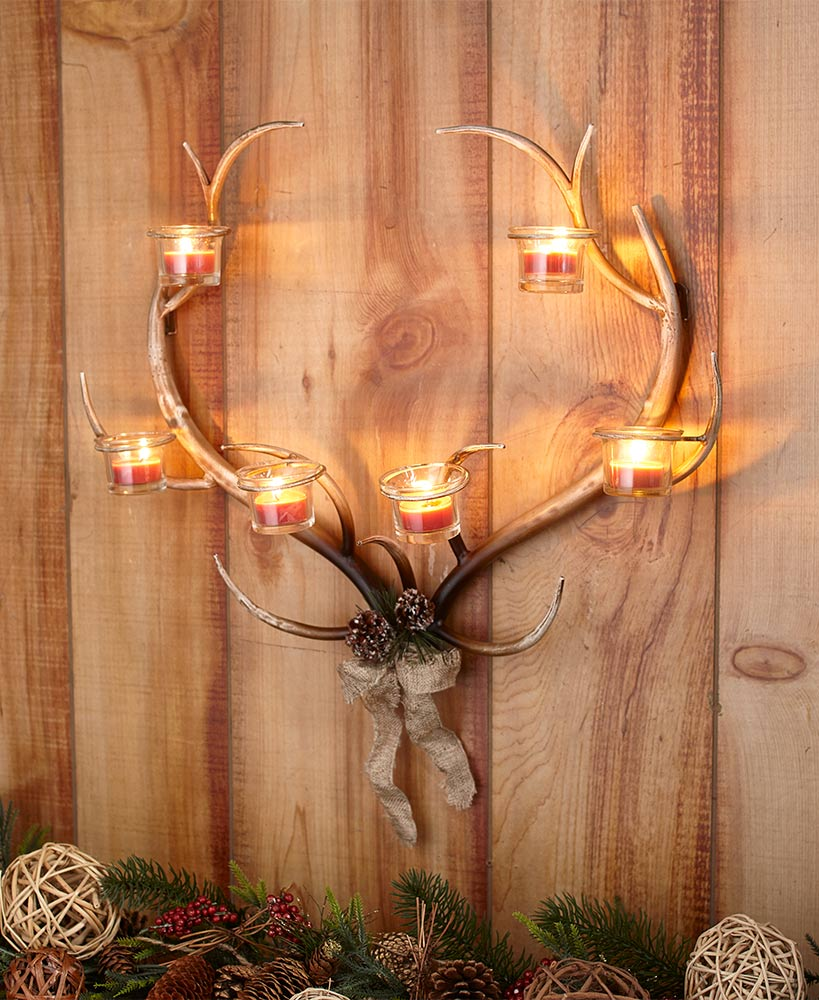 Rustic Decor Deer Antler Candle Wall Sconce