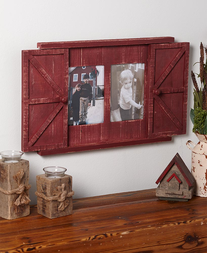 Farmhouse Decor Rustic Red Barn Door Picture Frame