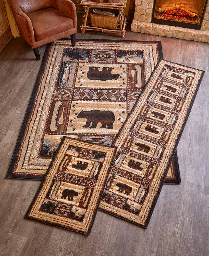 Rustic Decor Cabin Rug Collection With Bears