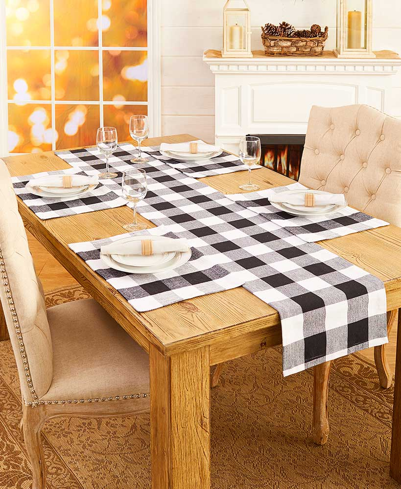 Farmhouse Decor Black And White Country Checker Table Linens