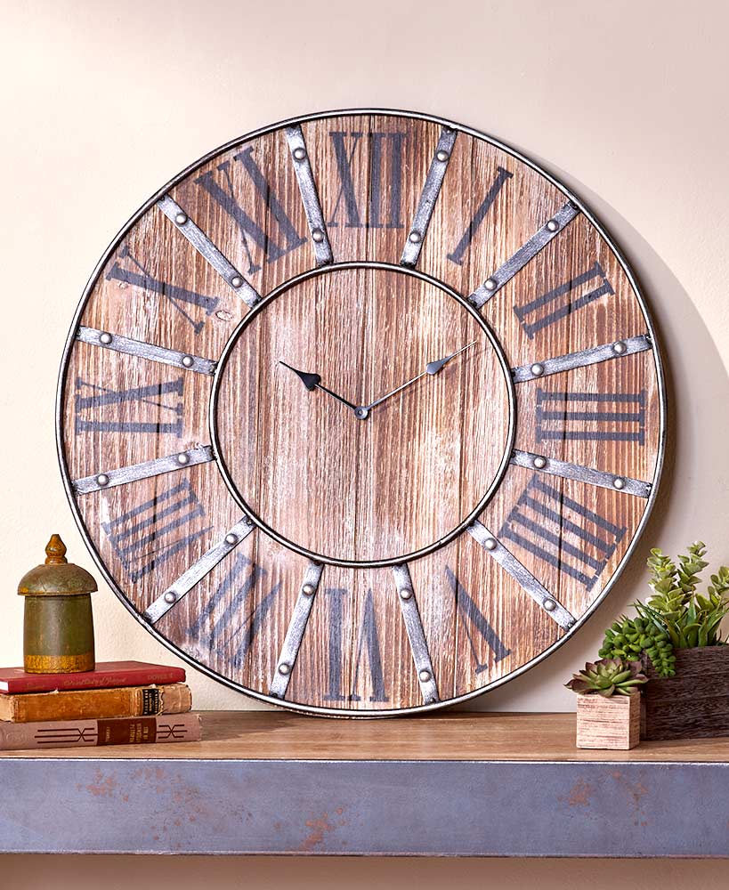Rustic Decor Natural Wood Wall Clock