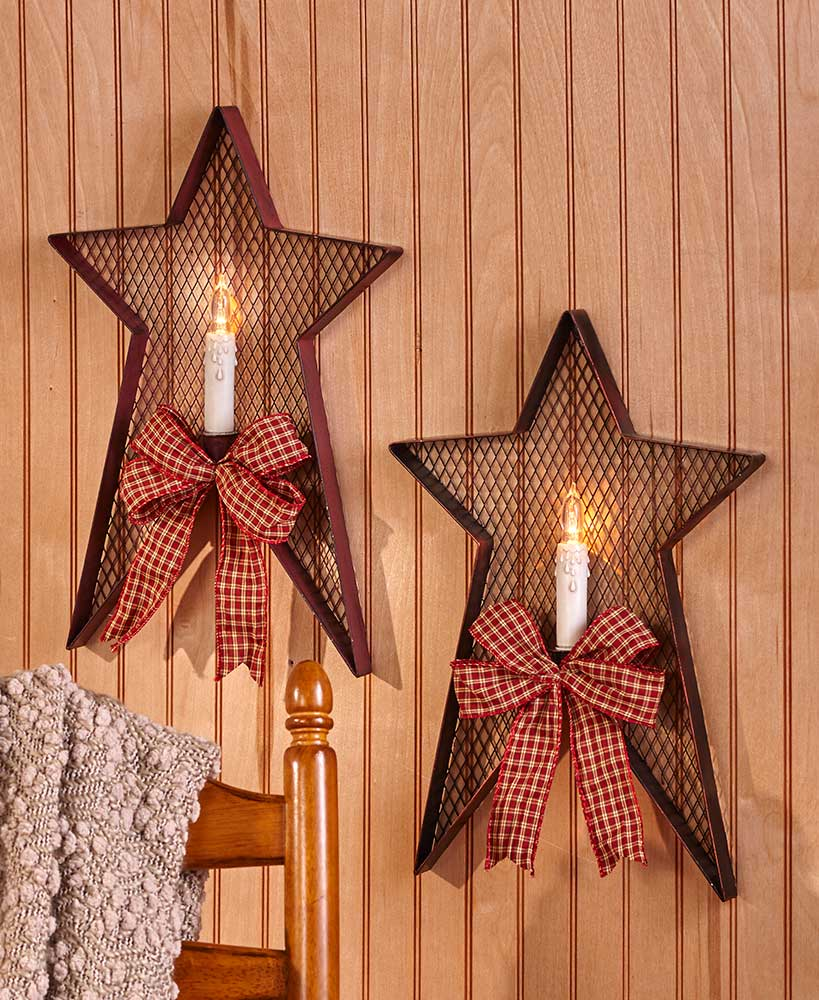 Farmhouse Decor Country Star Shaped Candle Wall Sconce With Plaid Bow