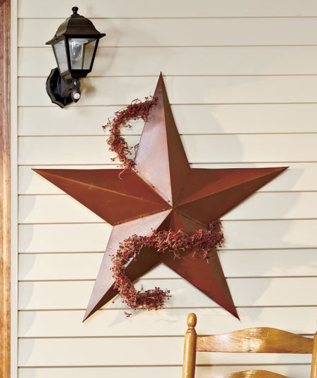 Rustic Decor Red Country Metal Star Wall Hanging