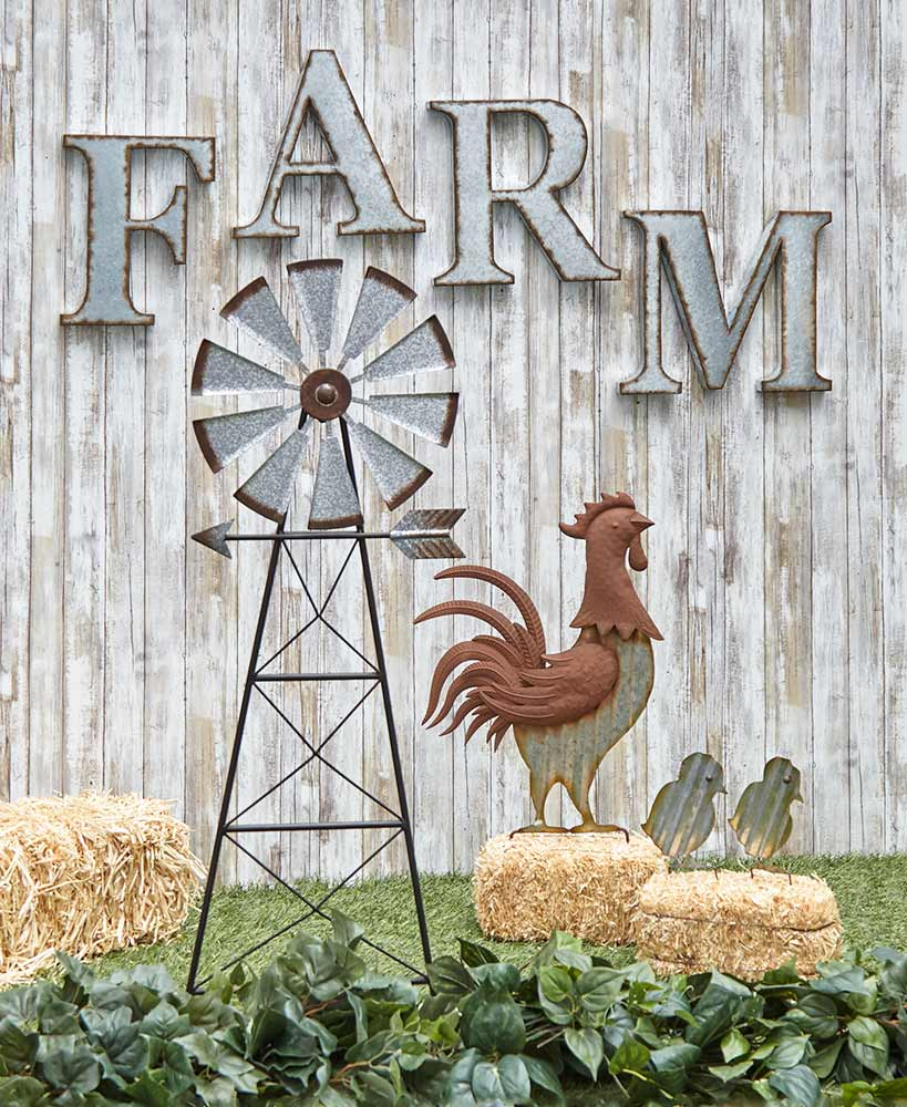 Farmhouse Decor Galvanized Metal Garden Accents With Windmill And Rooster