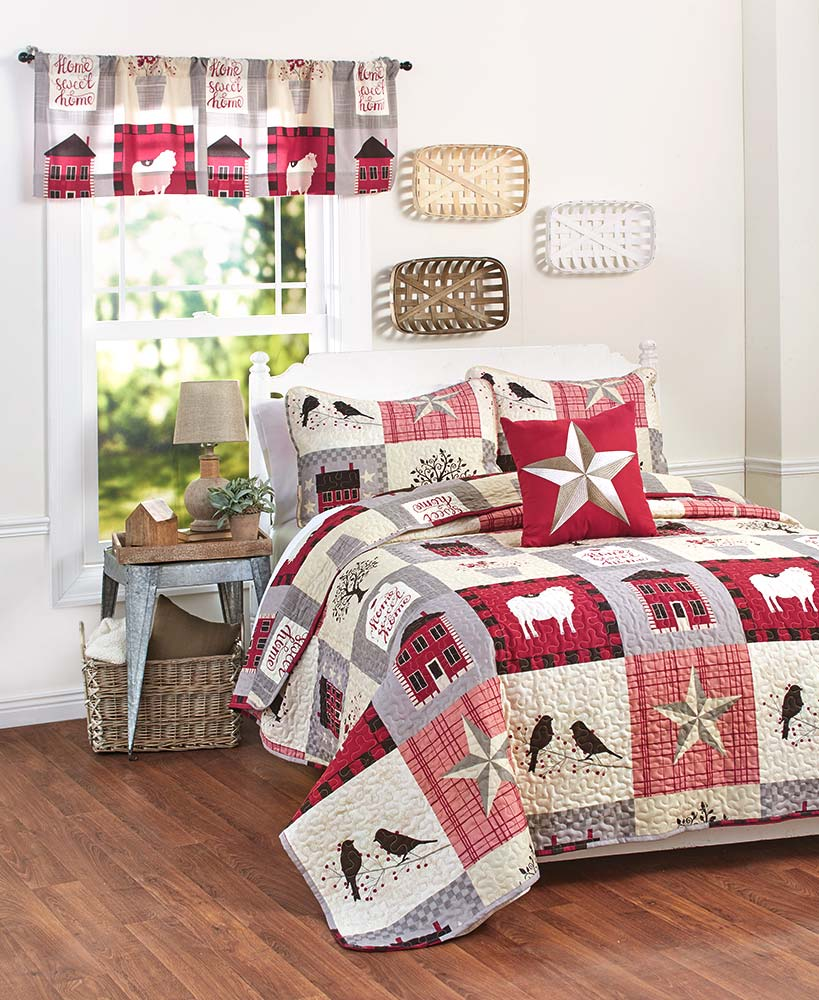 Farmhouse Decor Bedroom Collection With Animal And Star Bedding And Window Valance