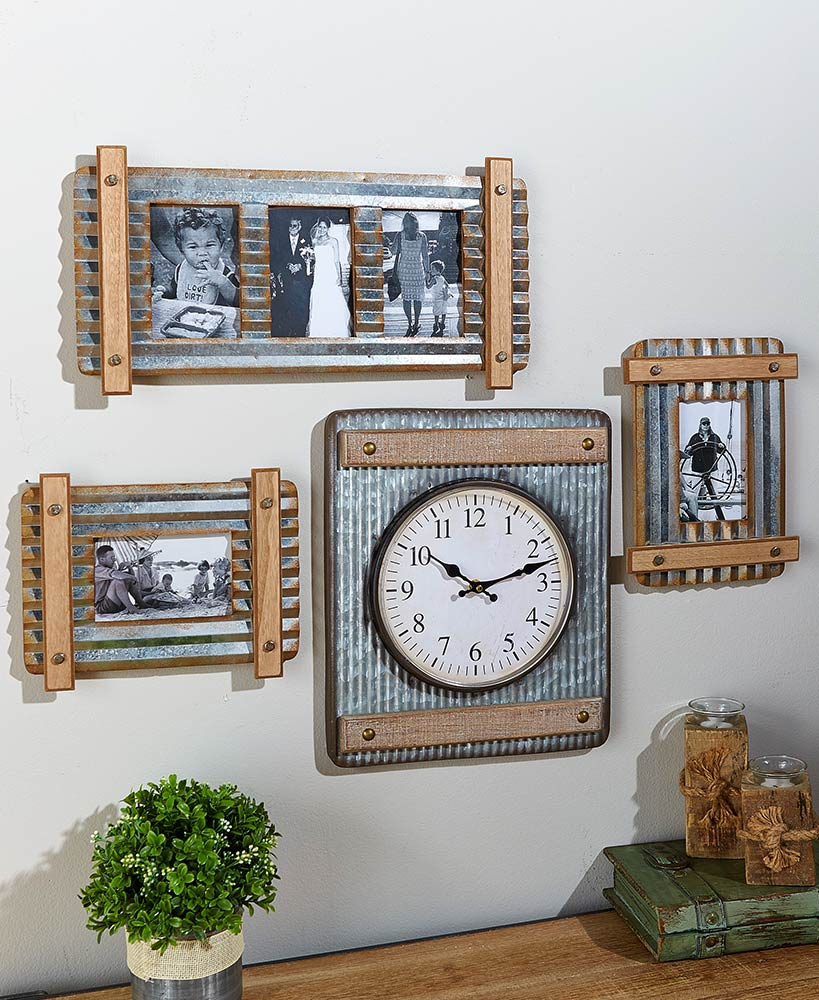 Industrial Farmhouse Decor Metal And Wood Picture Frames And Clock
