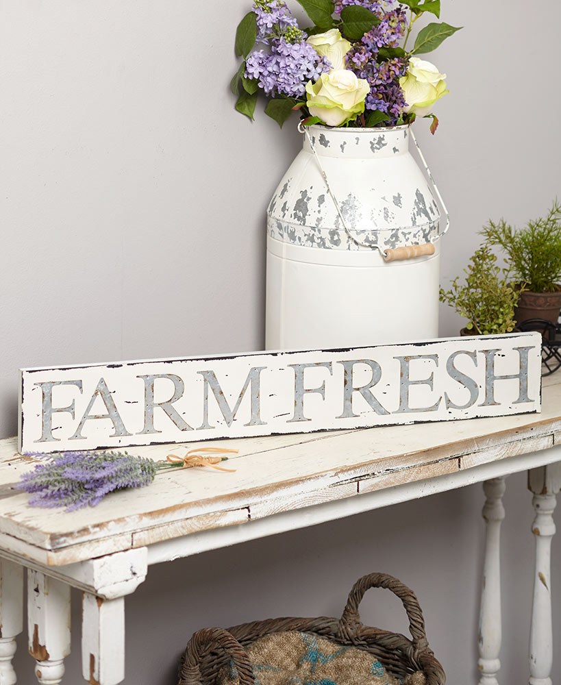 Rustic Decor Farm Fresh Collection With Tattered White Wood