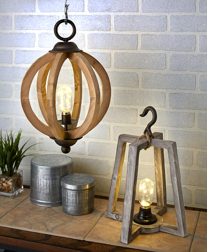 Rustic Decor Wood And Metal Lamps