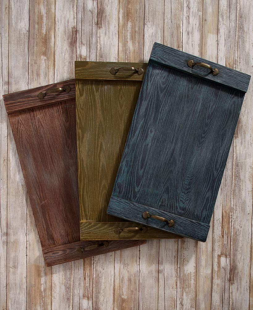 Rustic Decor Wooden Pallet Trays In Blue Green And Red