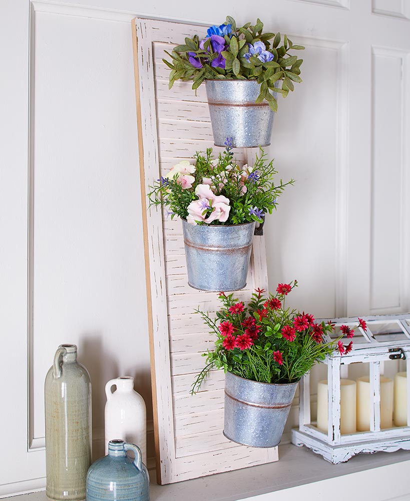 Rustic Decor Galvanized Metal Planters On Wooden Plank