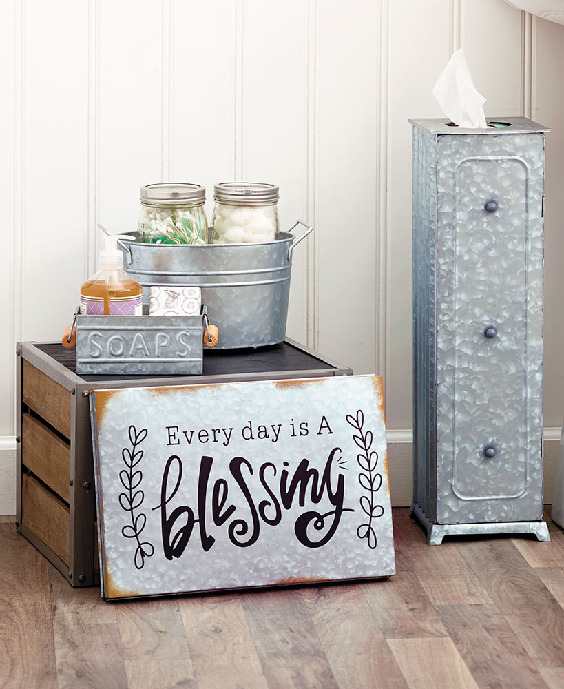 Farmhouse Decor Galvanized Metal Storage And Sign Collection