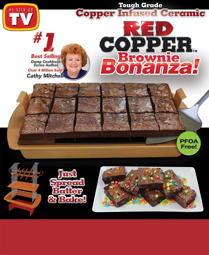 As Seen On TV Red Copper Brownie Bonanza Ceramic Pan
