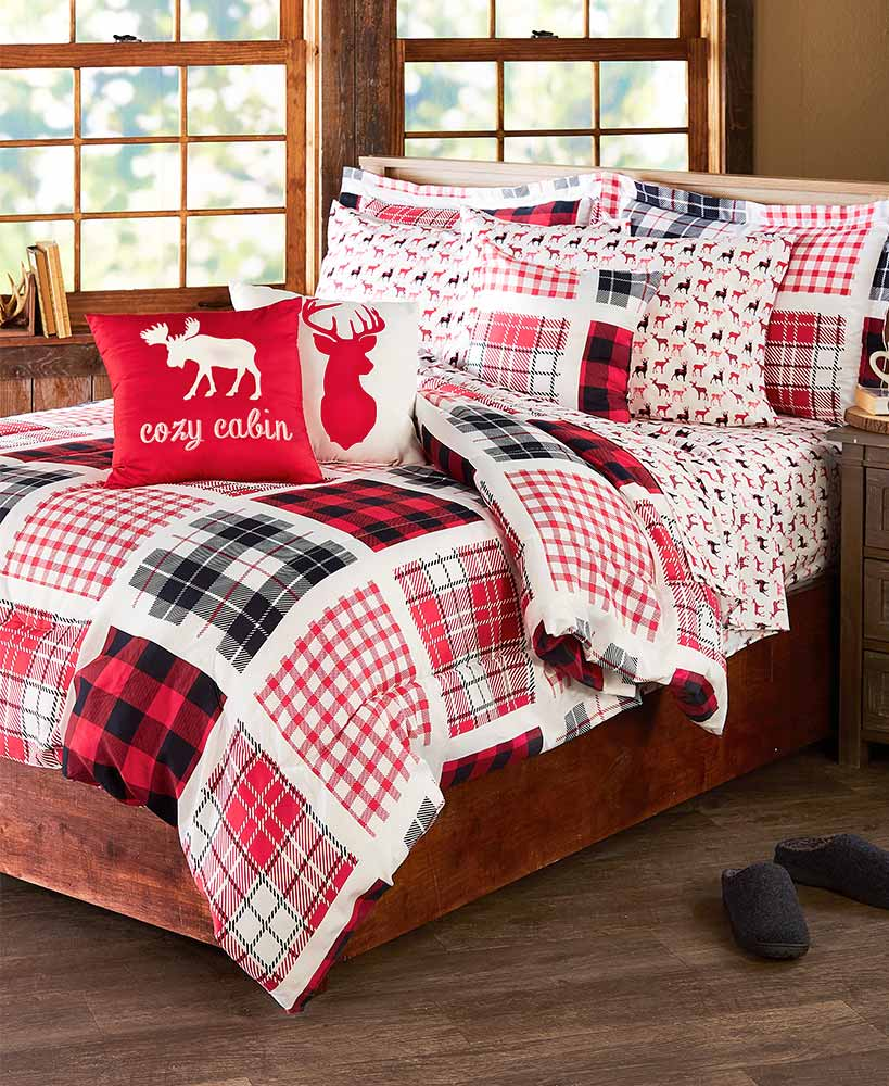 Buffalo plaid comforters sheets and pillows