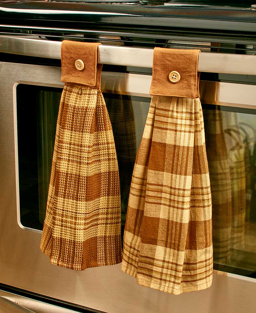 Hanging country plaid kitchen towels