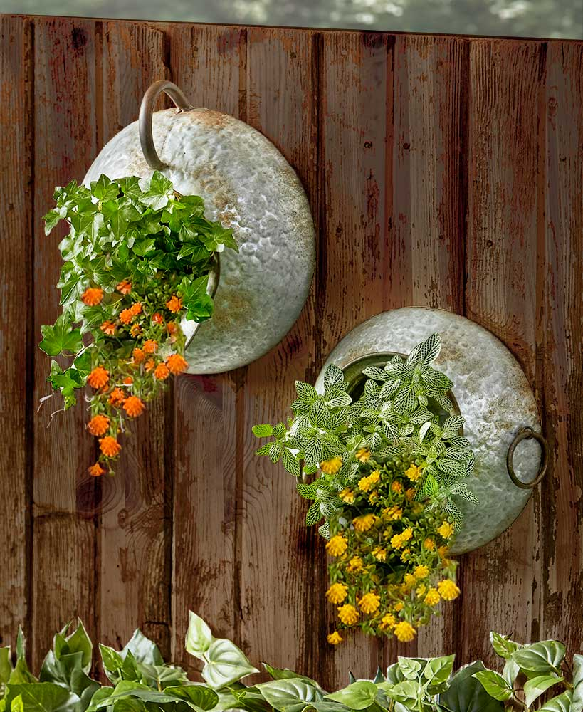 Rustic Decor Galvanized Metal Hanging Wall Planters
