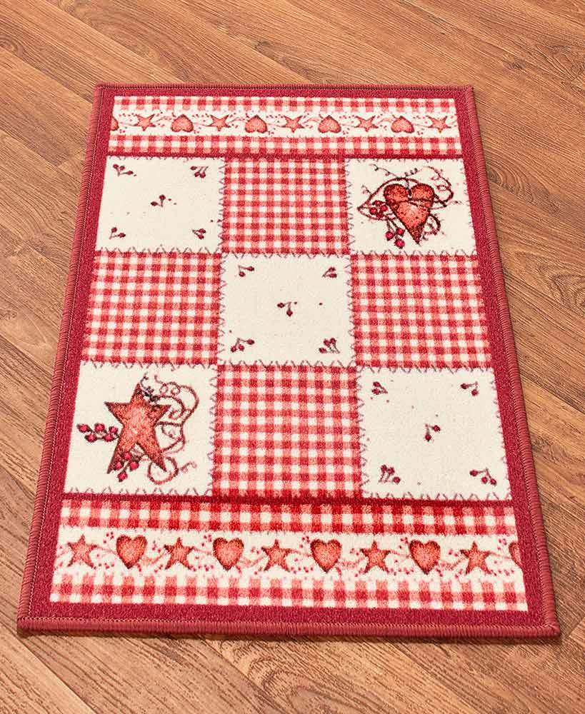 Red plaid hearts and stars accent rug