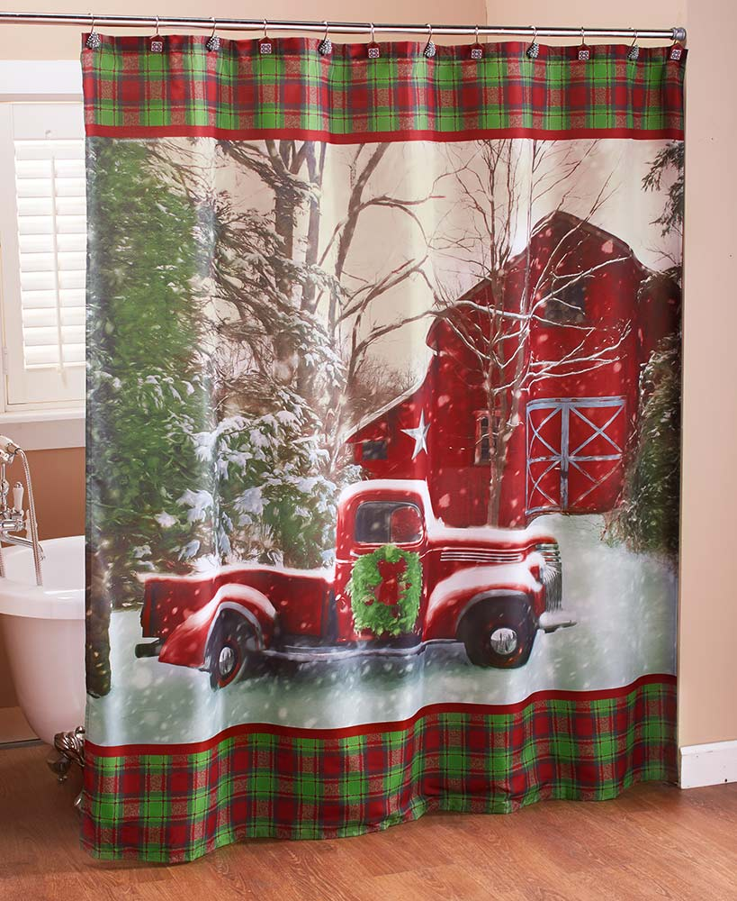Country christmas plaid shower curtain