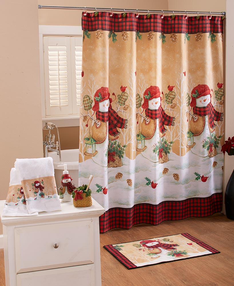 Snowman plaid shower curtain