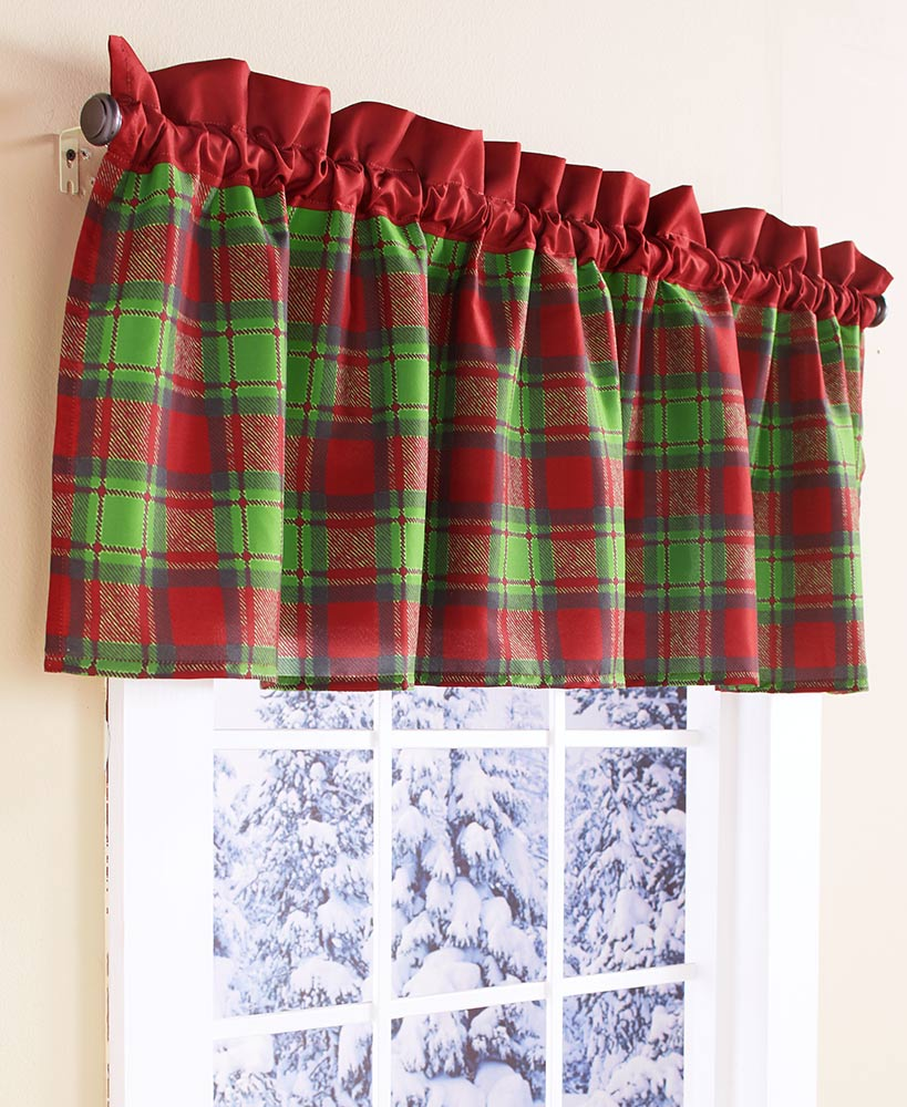 Red and green christmas plaid window valance